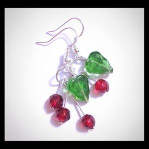 Jewelry - 🍒Cherries Handmade Beaded Earrings🍒